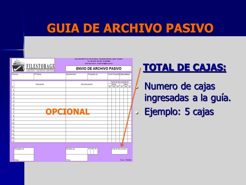 GUIA DE ARCHIVO PASIVO TOTAL DE CAJAS: