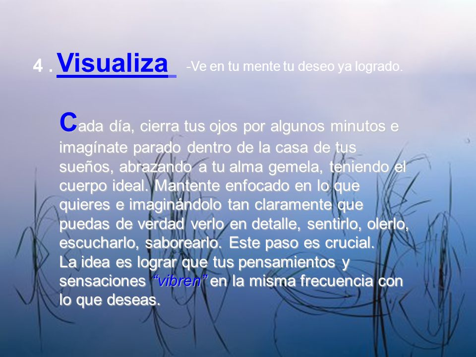 4 . Visualiza -Ve en tu mente tu deseo ya logrado.