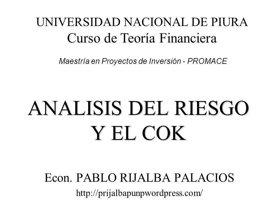 ANALISIS DEL RIESGO Y EL COK