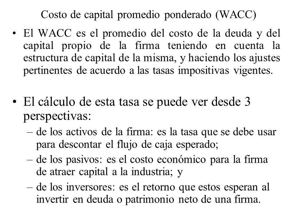 Costo de capital promedio ponderado (WACC)