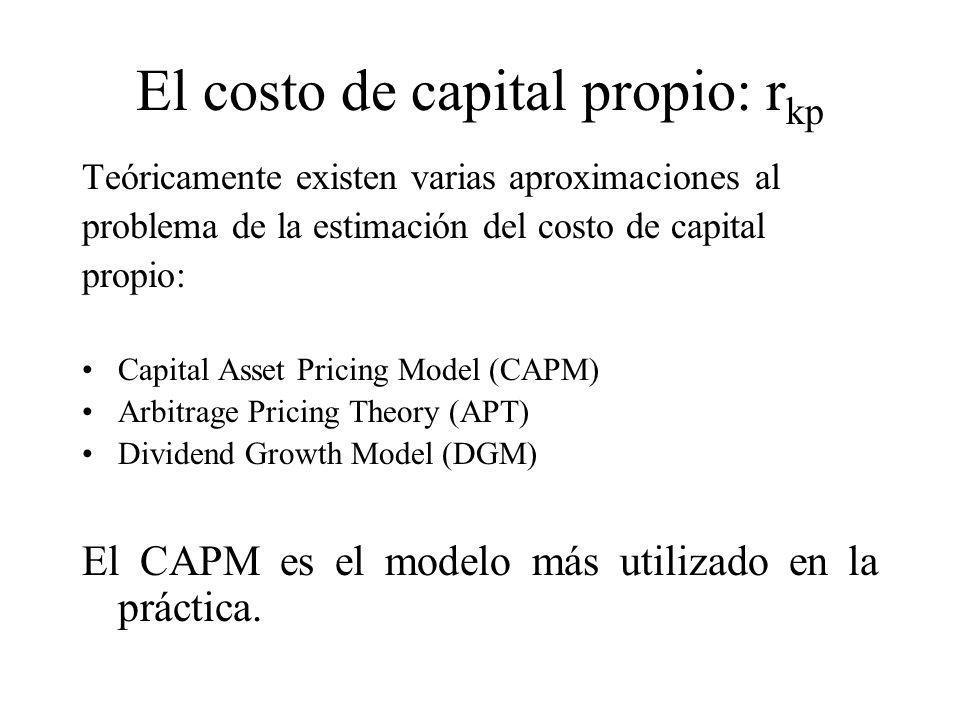 El costo de capital propio: rkp