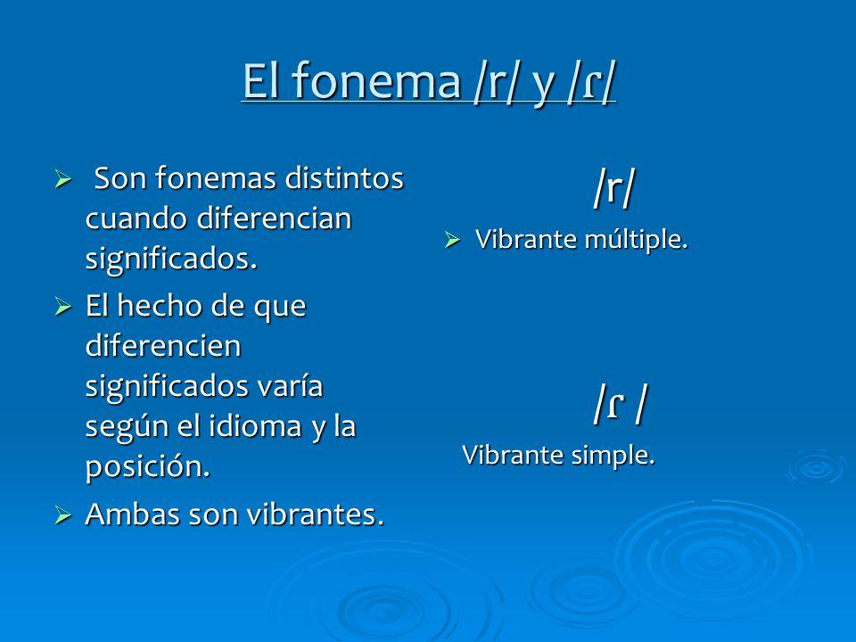 El fonema /r/ y /ɾ/ Son fonemas distintos cuando diferencian significados.