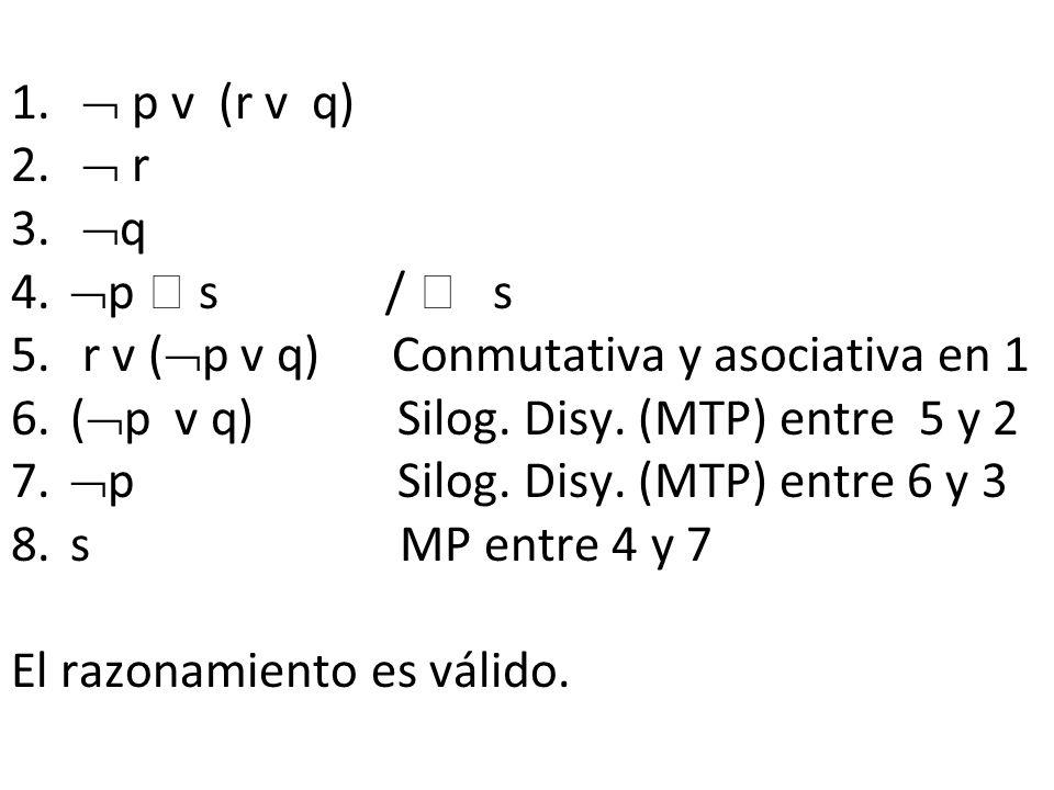  p v (r v q)  r. q. p  s /  s. r v (p v q) Conmutativa y asociativa en 1.