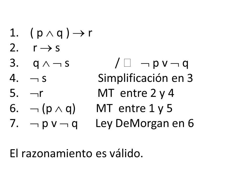 ( p  q )  r r  s. q   s /   p v  q.  s Simplificación en 3.