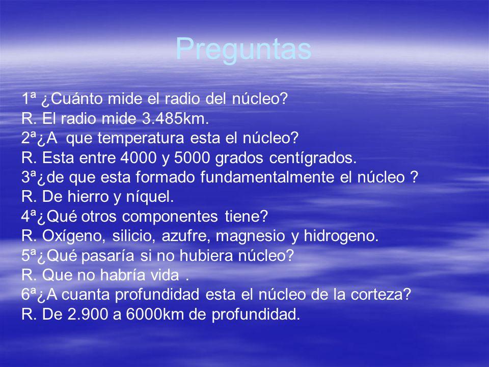 Preguntas 1ª ¿Cuánto mide el radio del núcleo