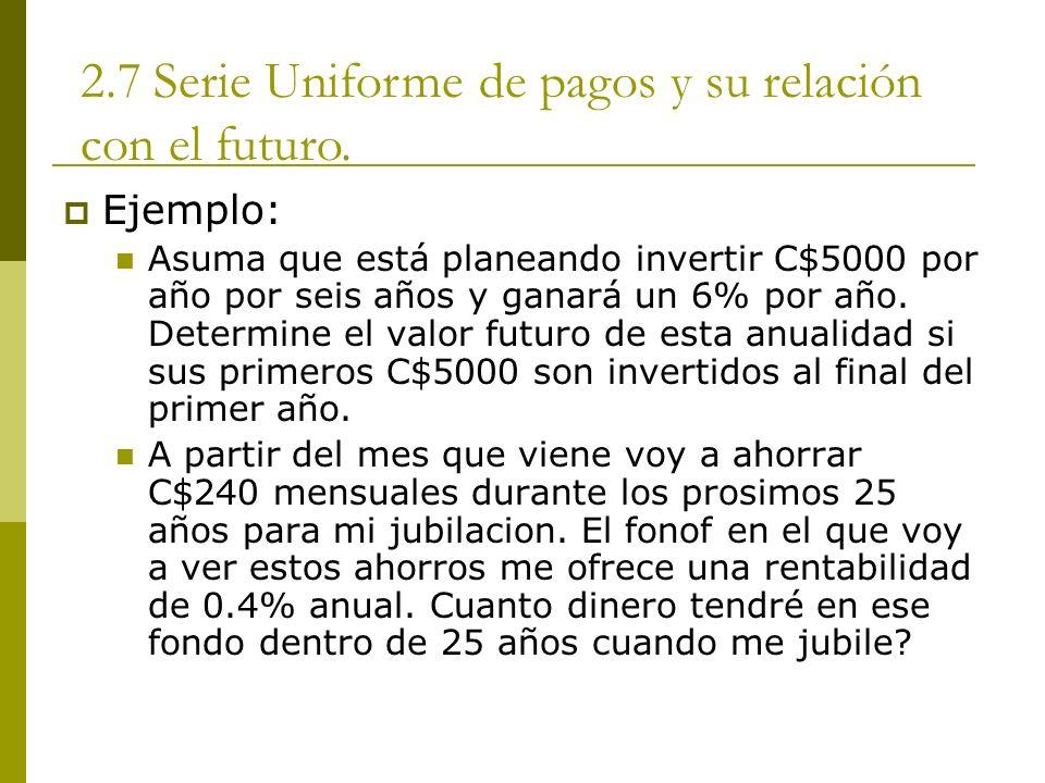 2.7 Serie Uniforme de pagos y su relación con el futuro.