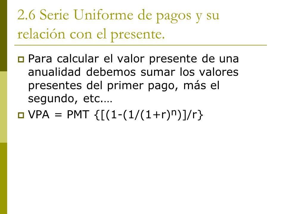 2.6 Serie Uniforme de pagos y su relación con el presente.