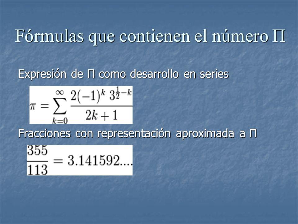 Fórmulas que contienen el número Π