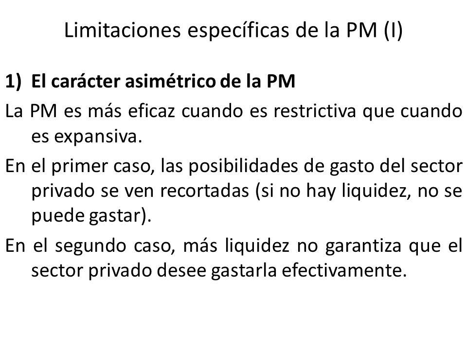 Limitaciones específicas de la PM (I)
