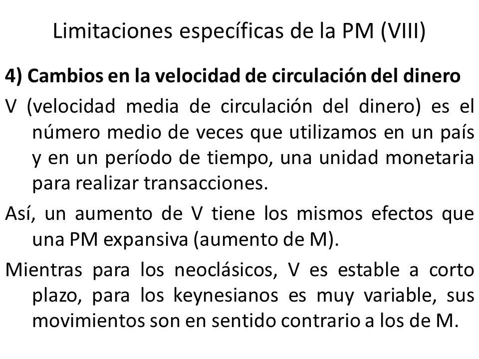 Limitaciones específicas de la PM (VIII)