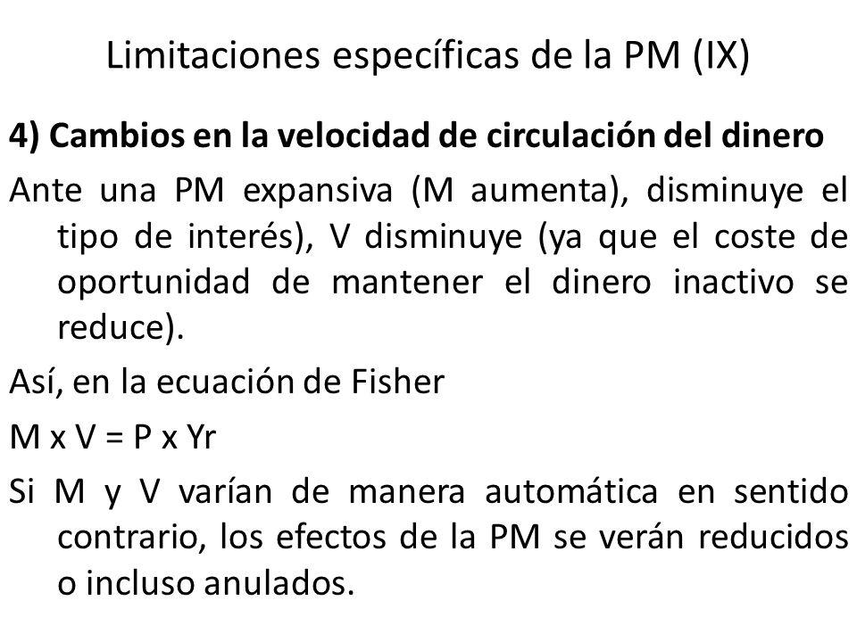 Limitaciones específicas de la PM (IX)