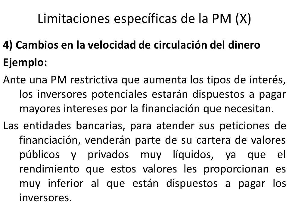 Limitaciones específicas de la PM (X)