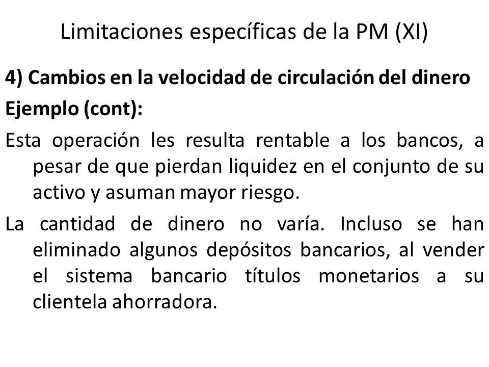 Limitaciones específicas de la PM (XI)