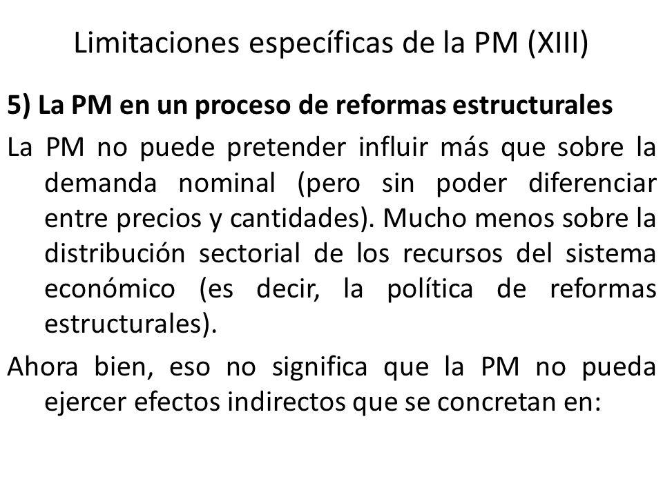 Limitaciones específicas de la PM (XIII)