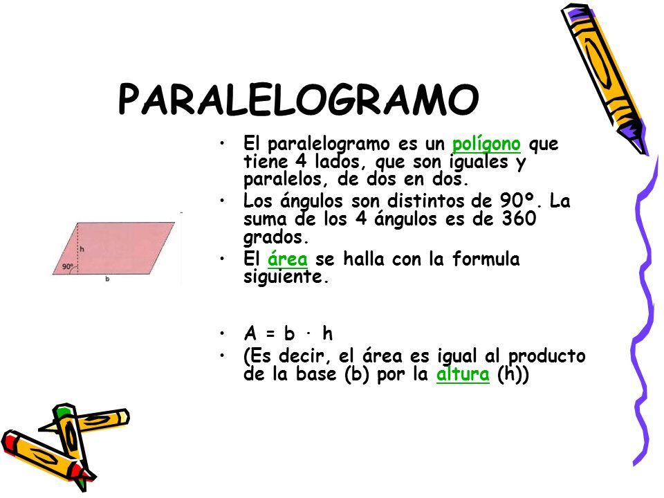 PARALELOGRAMO El paralelogramo es un polígono que tiene 4 lados, que son iguales y paralelos, de dos en dos.