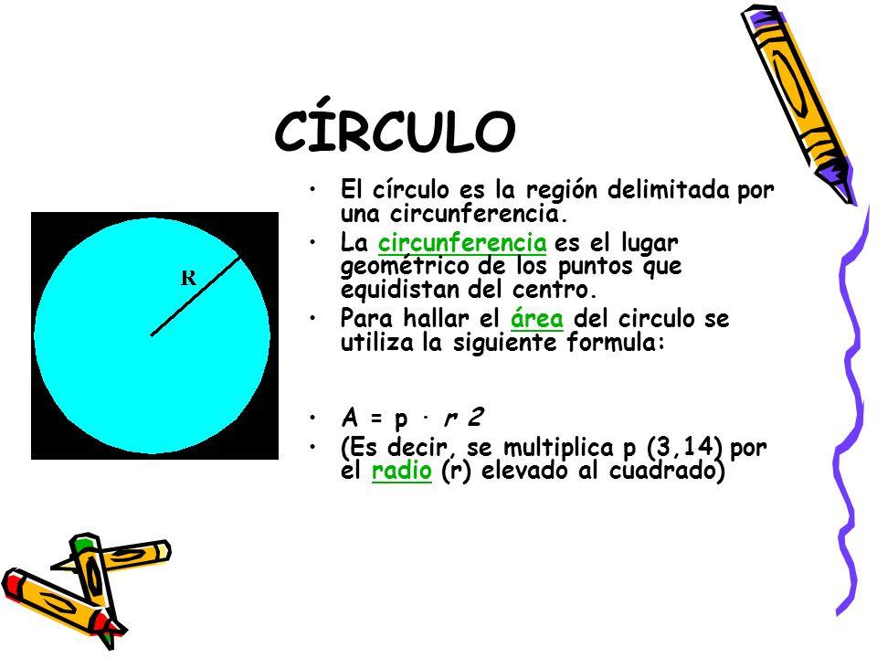 CÍRCULO El círculo es la región delimitada por una circunferencia.