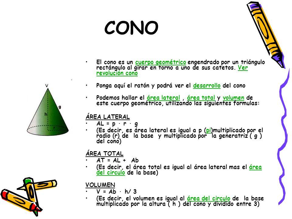 CONO El cono es un cuerpo geométrico engendrado por un triángulo rectángulo al girar en torno a uno de sus catetos. Ver revolución cono