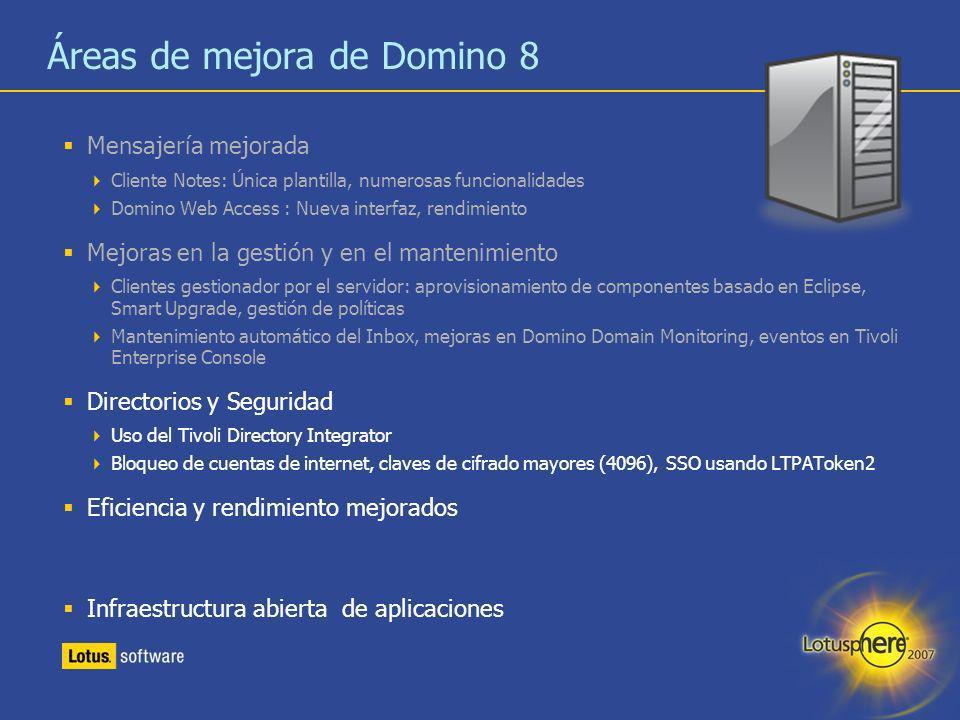 Áreas de mejora de Domino 8