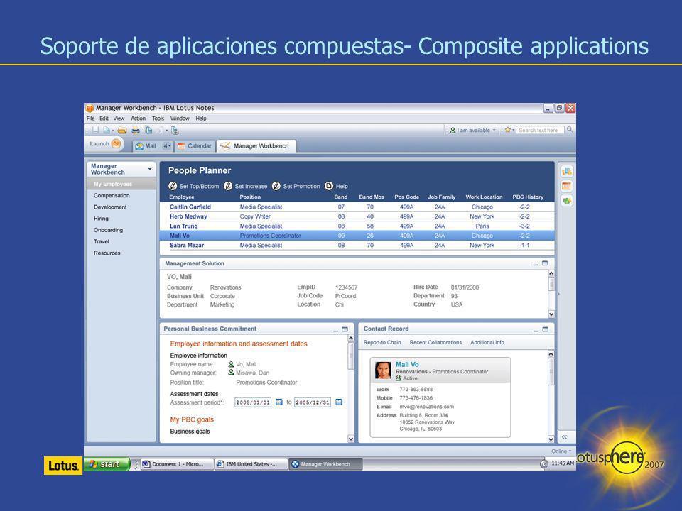 Soporte de aplicaciones compuestas- Composite applications