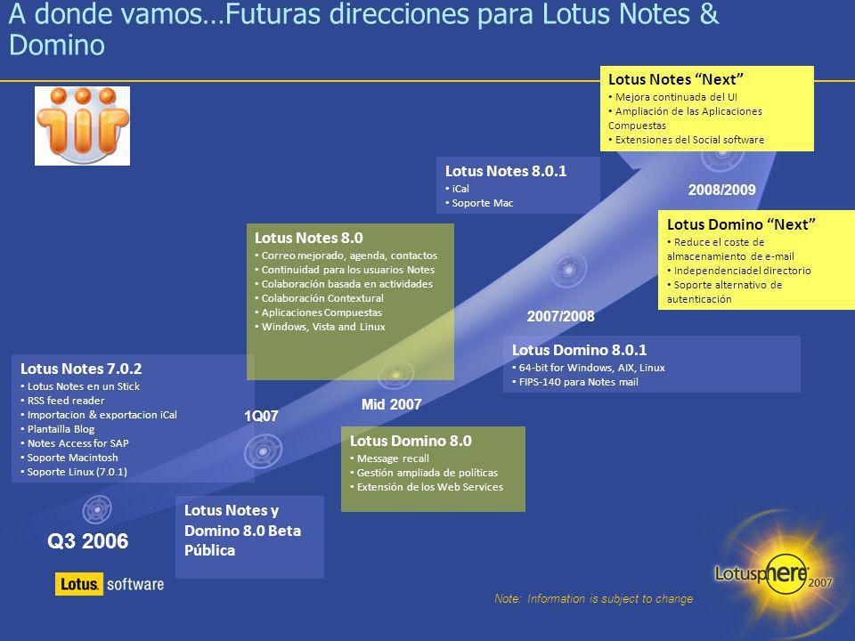 A donde vamos…Futuras direcciones para Lotus Notes & Domino
