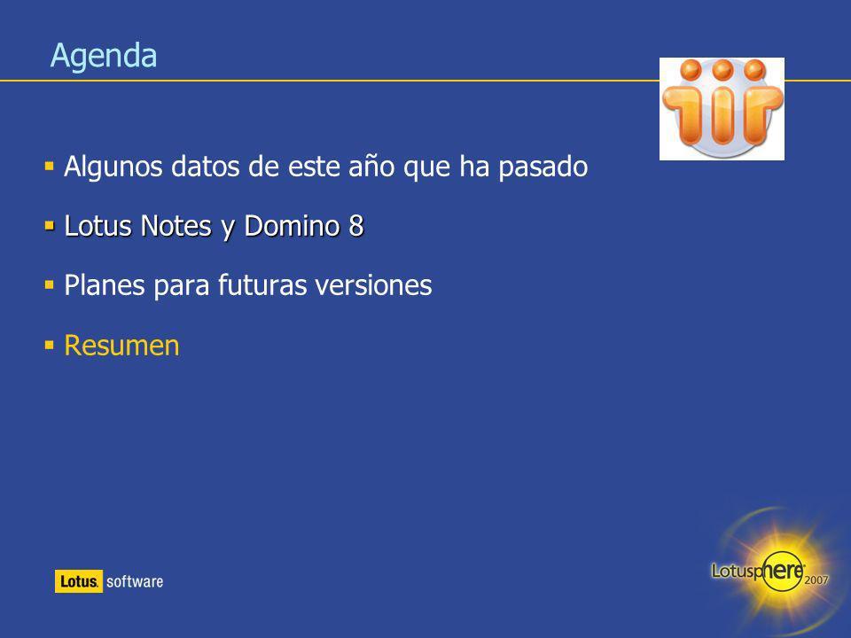 Agenda Algunos datos de este año que ha pasado Lotus Notes y Domino 8