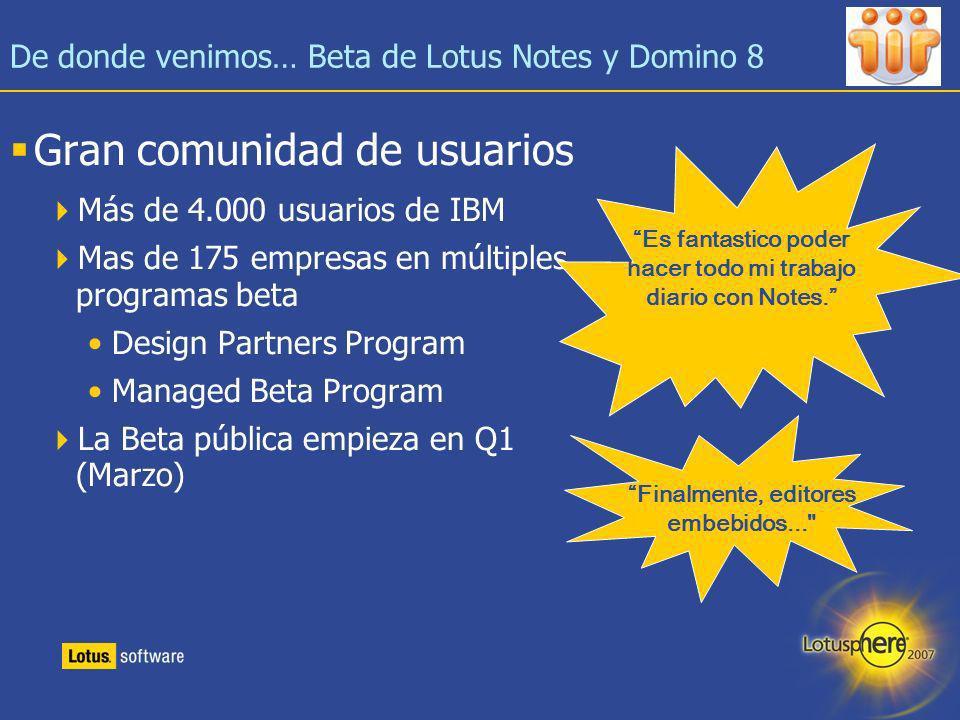 De donde venimos… Beta de Lotus Notes y Domino 8
