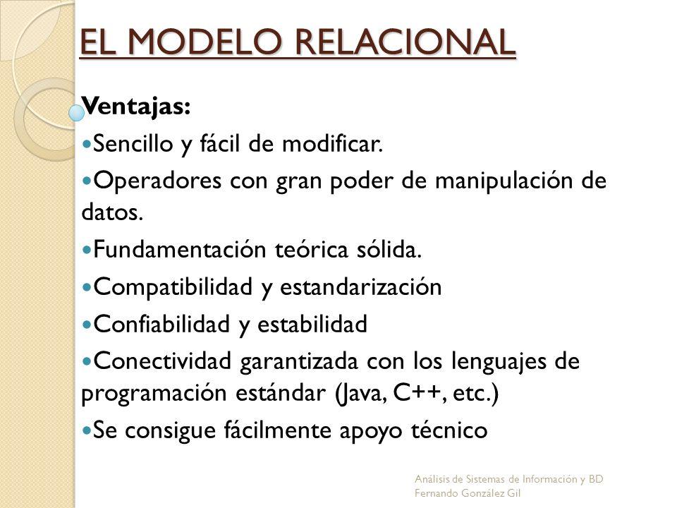 EL MODELO RELACIONAL Ventajas: Sencillo y fácil de modificar.