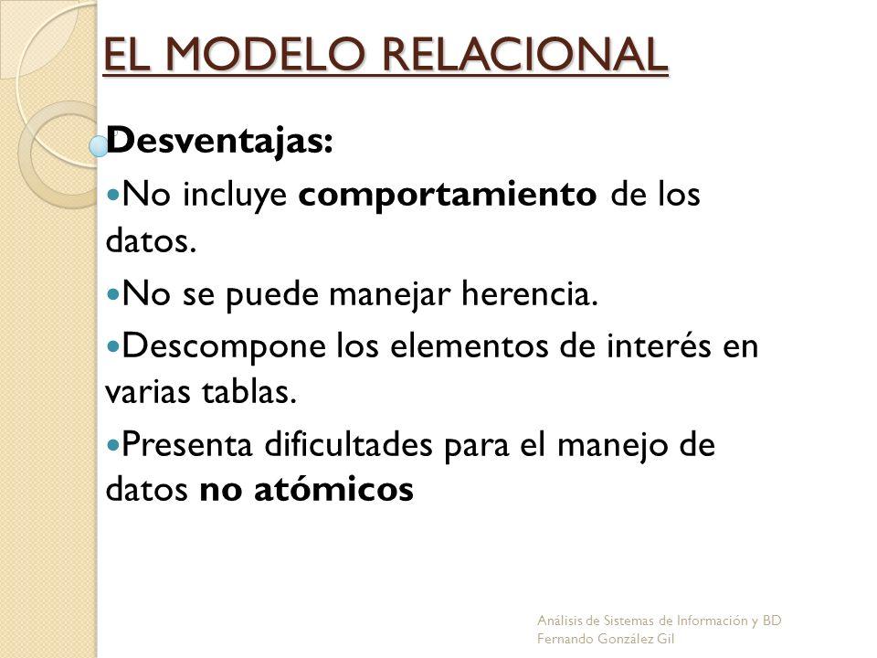 EL MODELO RELACIONAL Desventajas: