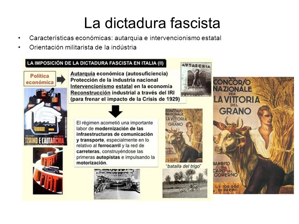 La dictadura fascista Características económicas: autarquia e intervencionismo estatal.
