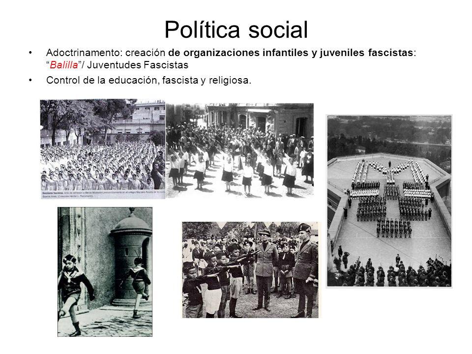 Política social Adoctrinamento: creación de organizaciones infantiles y juveniles fascistas: Balilla / Juventudes Fascistas.