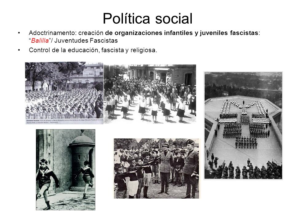 Política socialAdoctrinamento: creación de organizaciones infantiles y juveniles fascistas: Balilla / Juventudes Fascistas.