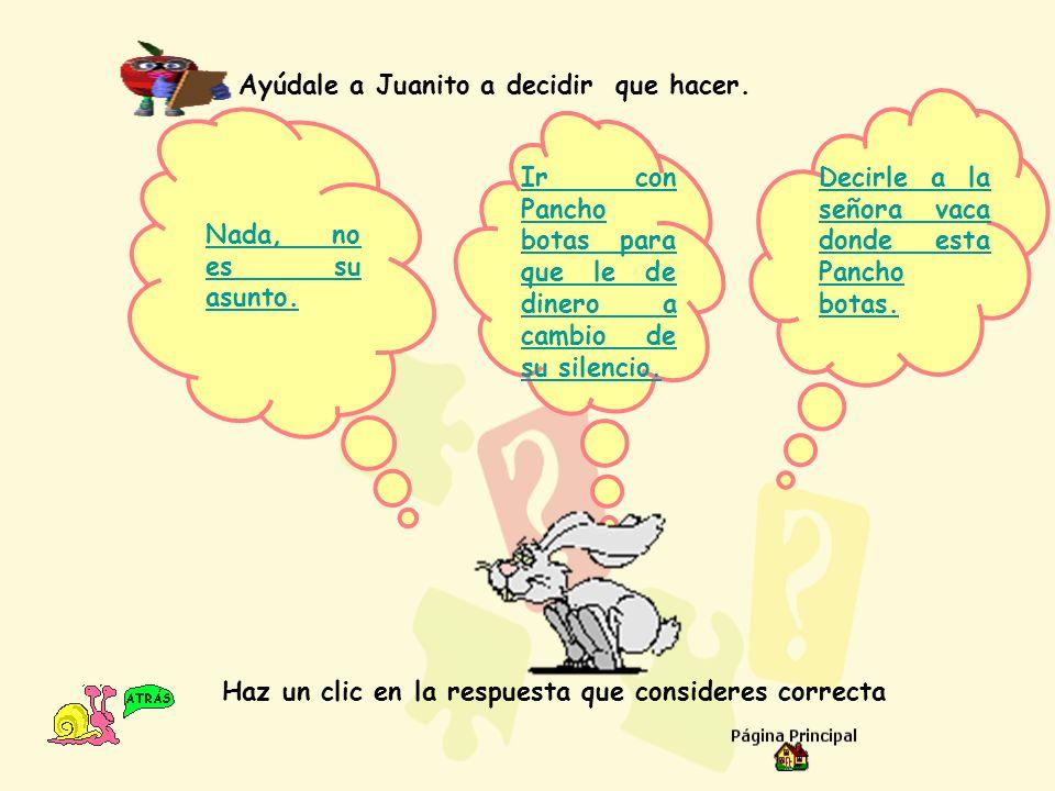 Ayúdale a Juanito a decidir que hacer.