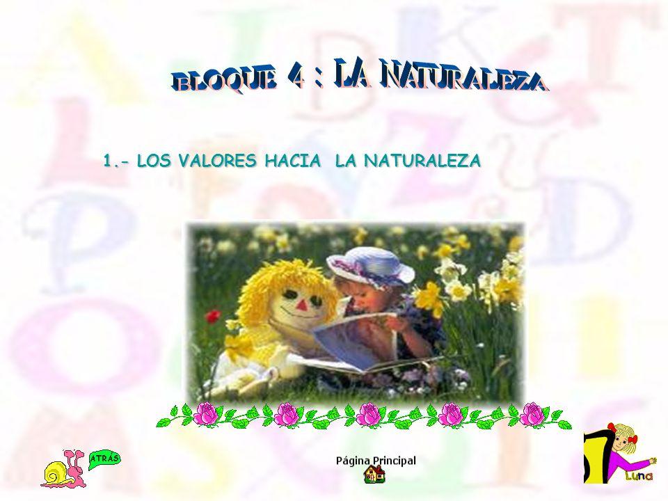 BLOQUE 4 : LA NATURALEZA 1.- LOS VALORES HACIA LA NATURALEZA