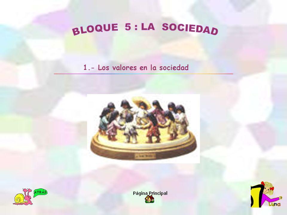 BLOQUE 5 : LA SOCIEDAD 1.- Los valores en la sociedad