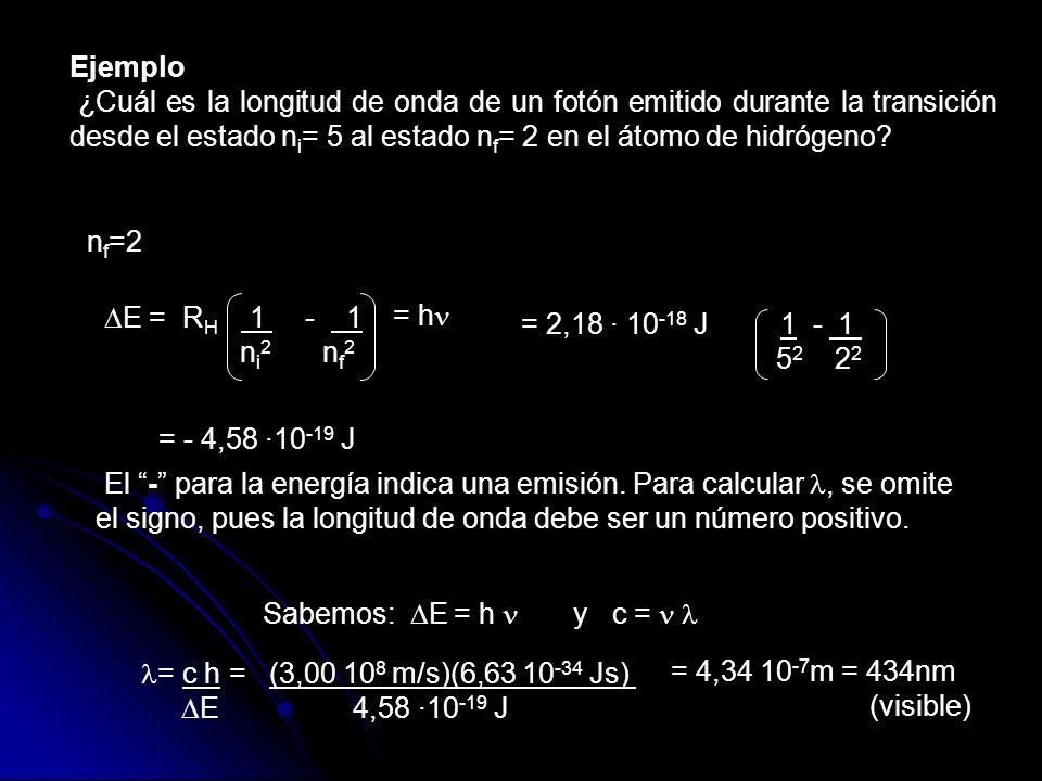 Ejemplo ¿Cuál es la longitud de onda de un fotón emitido durante la transición desde el estado ni= 5 al estado nf= 2 en el átomo de hidrógeno