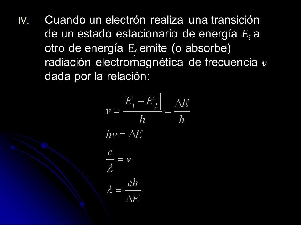 Cuando un electrón realiza una transición de un estado estacionario de energía Ei a otro de energía Ef emite (o absorbe) radiación electromagnética de frecuencia v dada por la relación:
