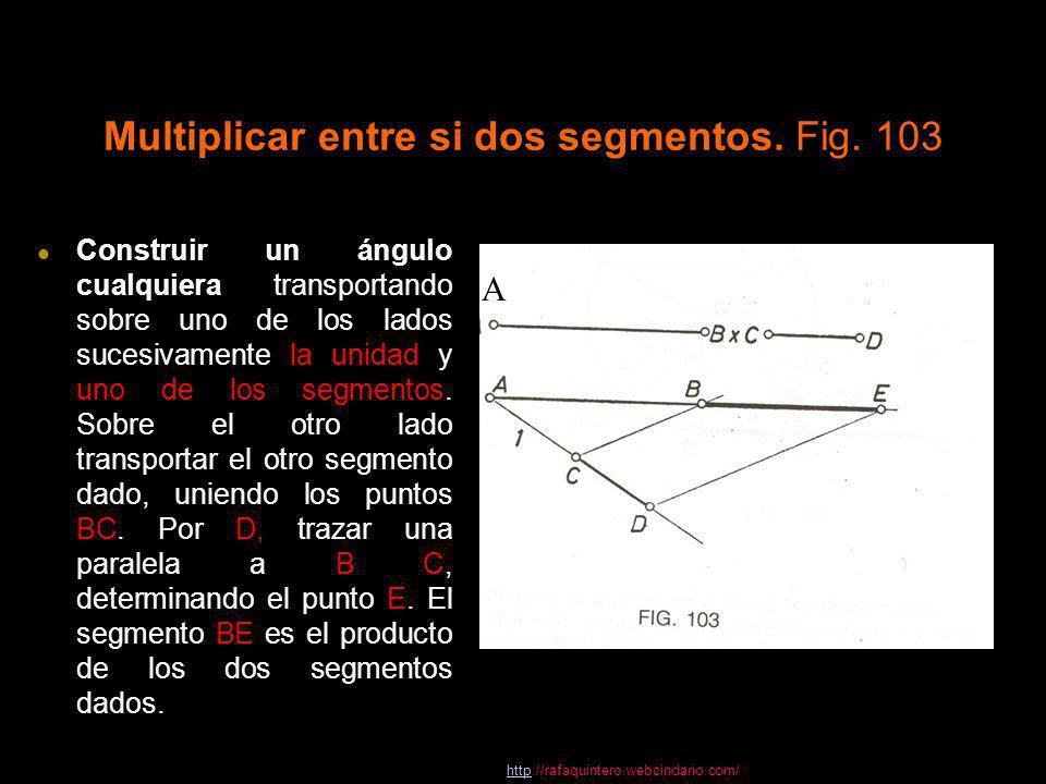 Multiplicar entre si dos segmentos. Fig. 103