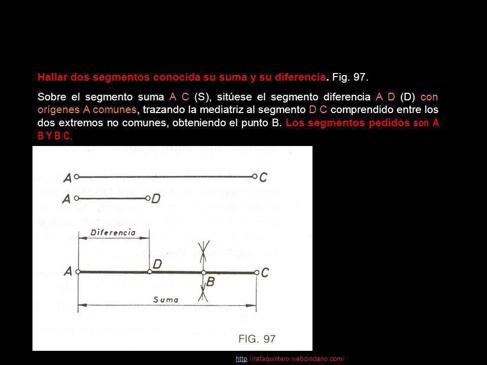 Hallar dos segmentos conocida su suma y su diferencia. Fig. 97.
