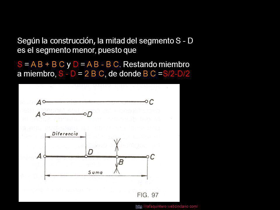 Hallar dos segmentos conocida su suma y su diferencia