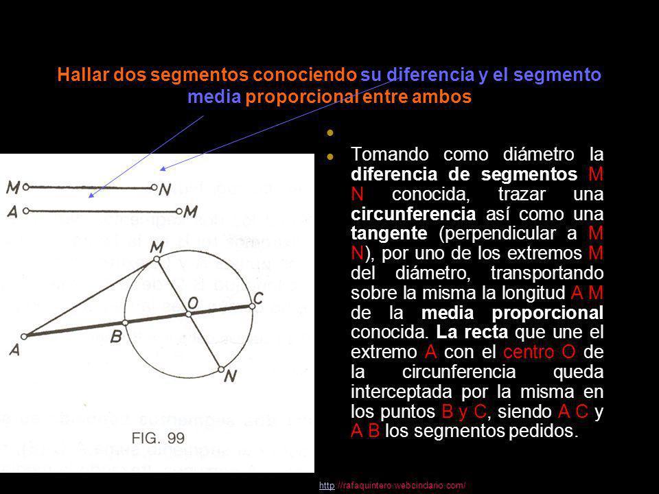 Hallar dos segmentos conociendo su diferencia y el segmento media proporcional entre ambos