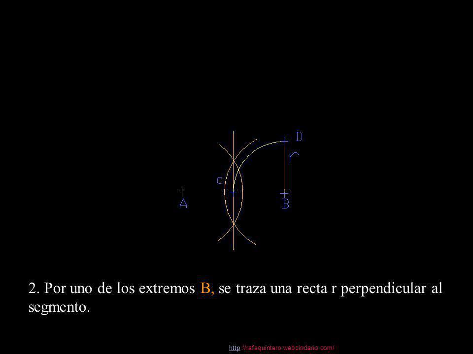 2. Por uno de los extremos B, se traza una recta r perpendicular al segmento.