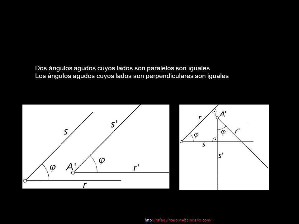 propiedades Dos ángulos agudos cuyos lados son paralelos son iguales