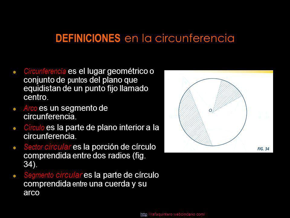 DEFINICIONES en la circunferencia