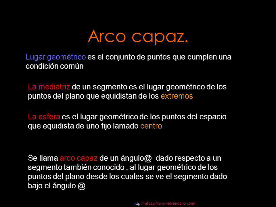 Arco capaz.Lugar geométrico es el conjunto de puntos que cumplen una condición común.