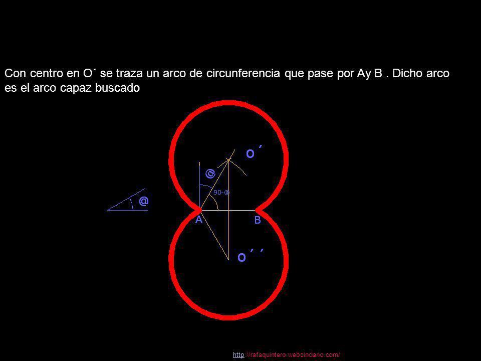 Con centro en O´ se traza un arco de circunferencia que pase por Ay B