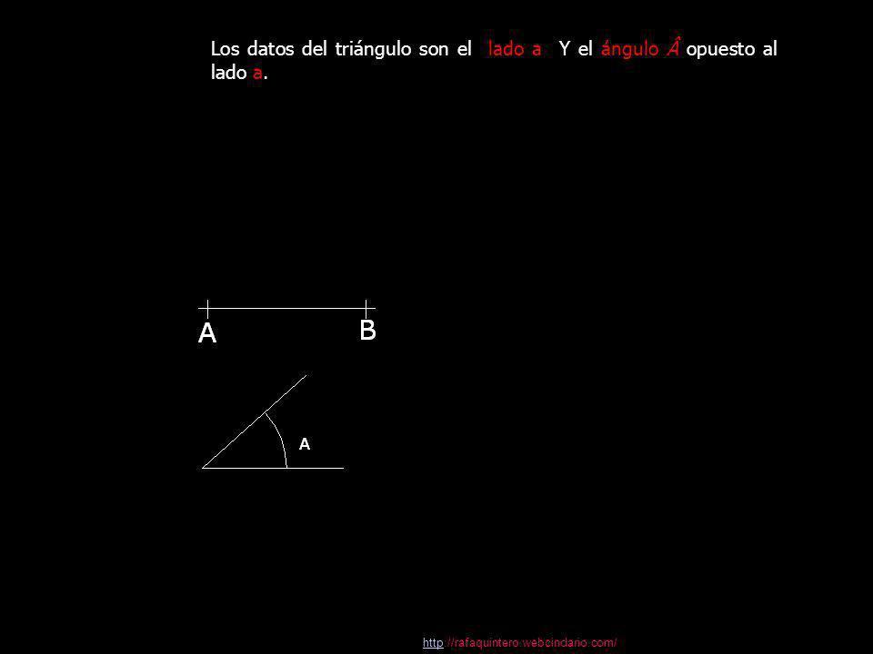 Los datos del triángulo son el lado a Y el ángulo opuesto al lado a.