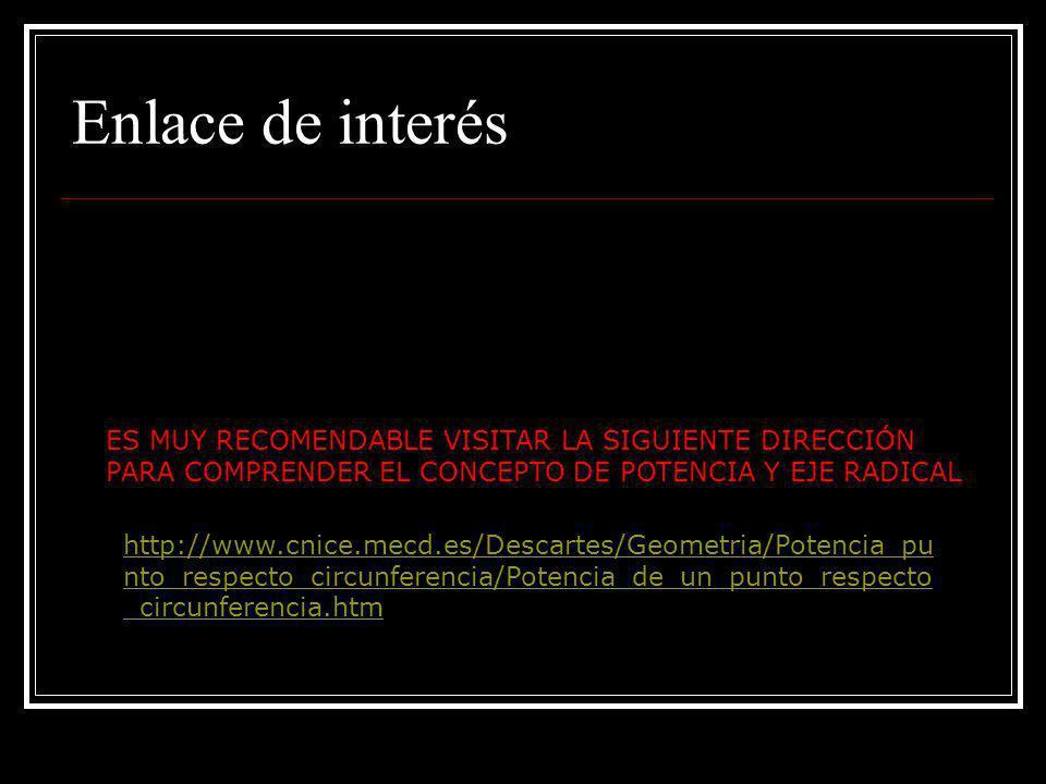 Enlace de interésES MUY RECOMENDABLE VISITAR LA SIGUIENTE DIRECCIÓN PARA COMPRENDER EL CONCEPTO DE POTENCIA Y EJE RADICAL.