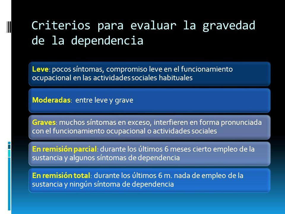 Criterios para evaluar la gravedad de la dependencia