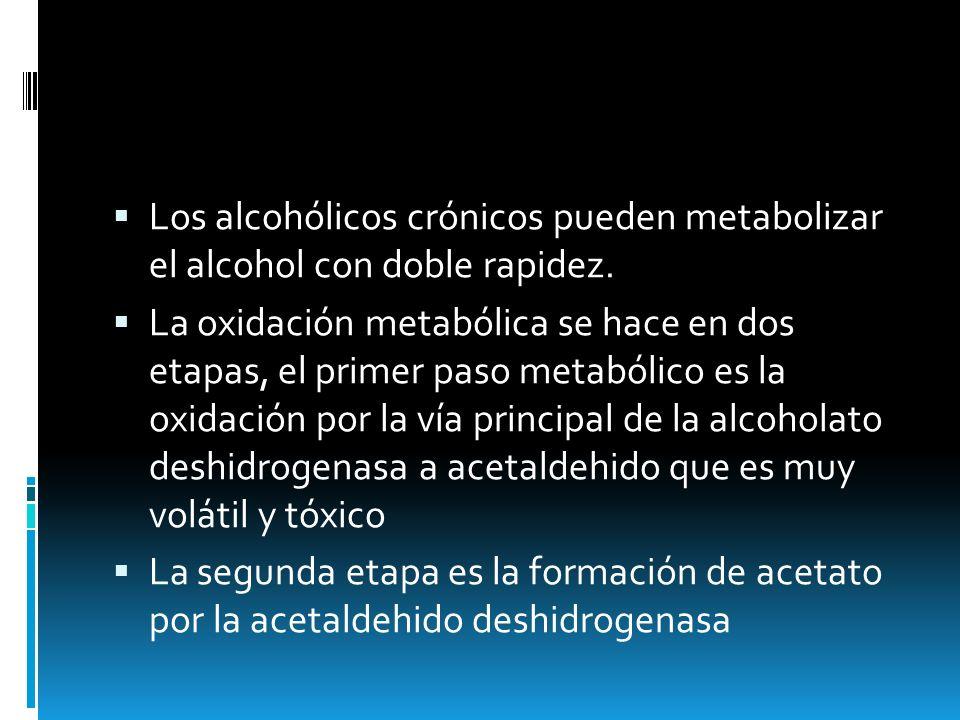 Los alcohólicos crónicos pueden metabolizar el alcohol con doble rapidez.