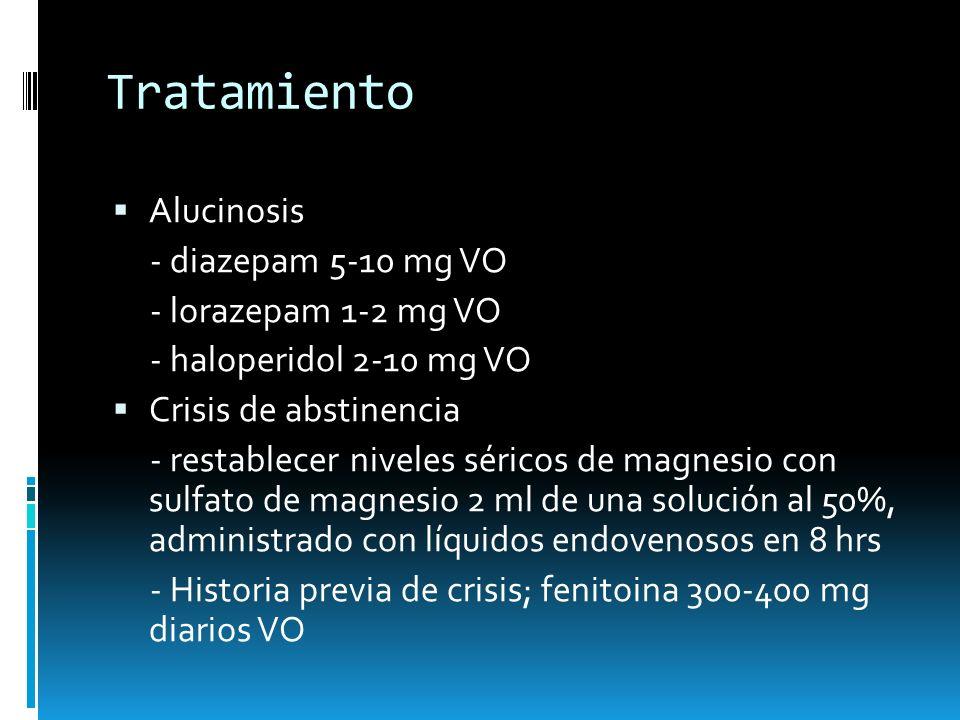 Tratamiento Alucinosis - diazepam 5-10 mg VO - lorazepam 1-2 mg VO